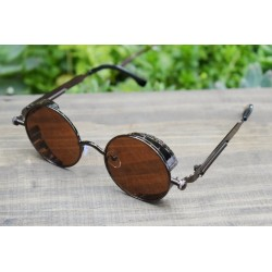 Wooden glasses, wood sunglasses, round catty style